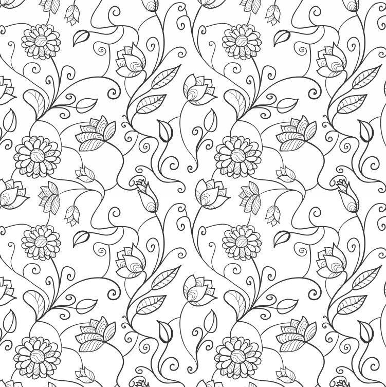 Papel de Parede Flores Florais Preto e Branco 4A6498