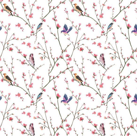 Papel de Parede Flores Florais com Pássaros 42E378