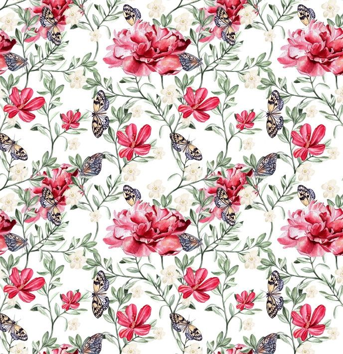 Papel de Parede Flores Floral e Borboletas 86A998