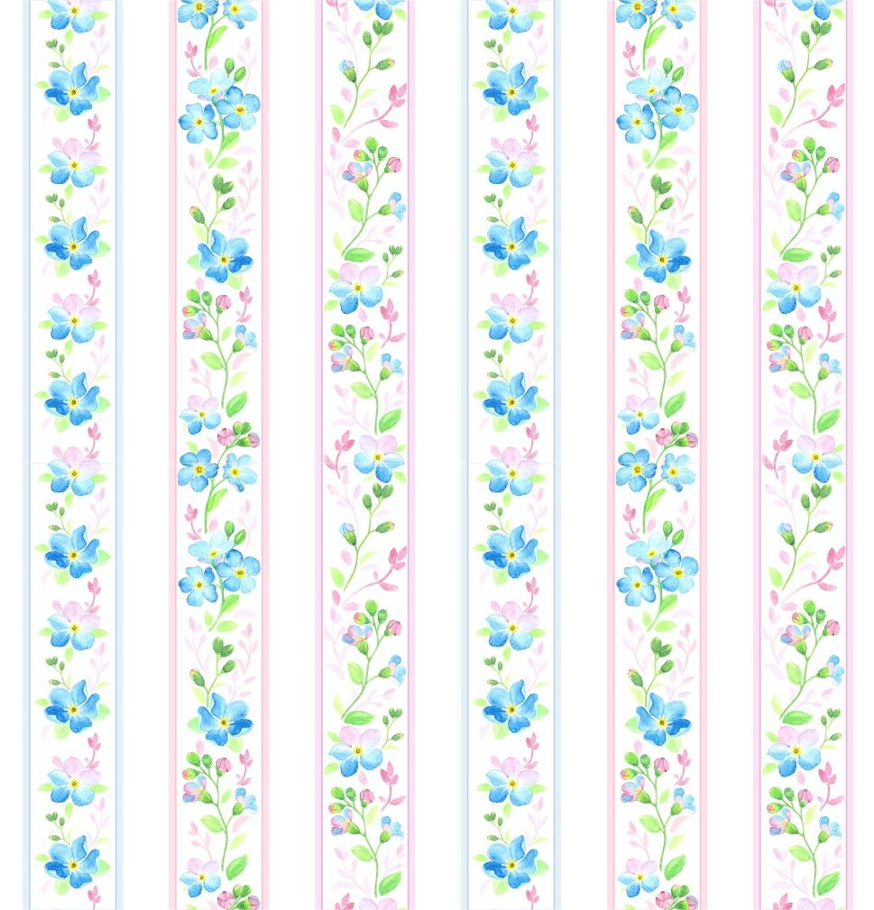 Papel de Parede Flores Floral Listras 6FBC5D