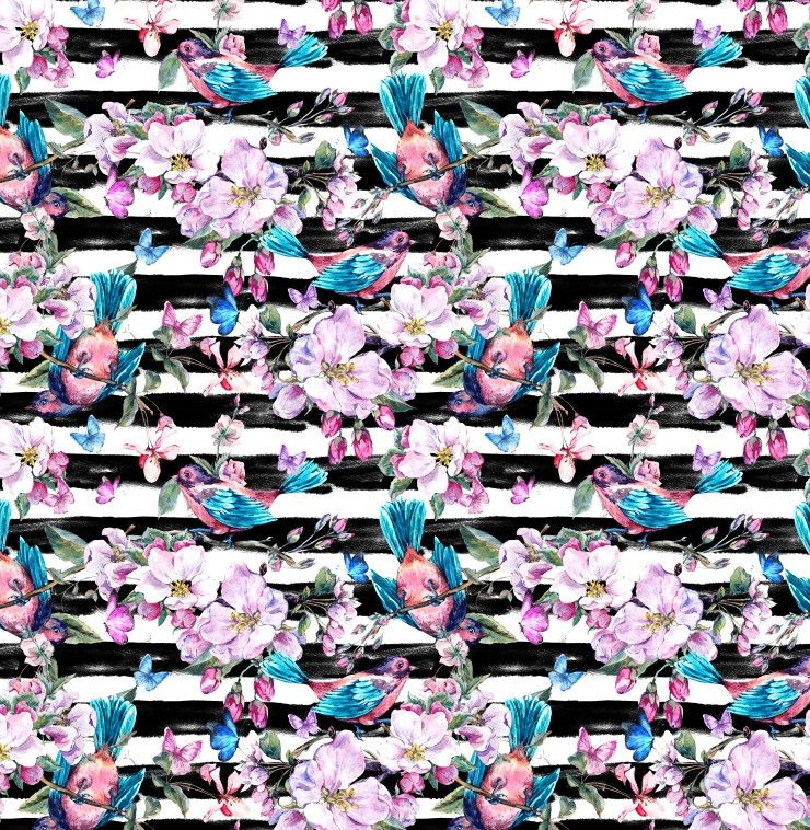 Papel de Parede Flores Floral Listras 6E4EB0