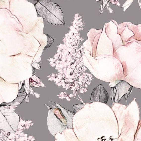 Papel de Parede Floral Aquarela Rosa Pastel 1065A1
