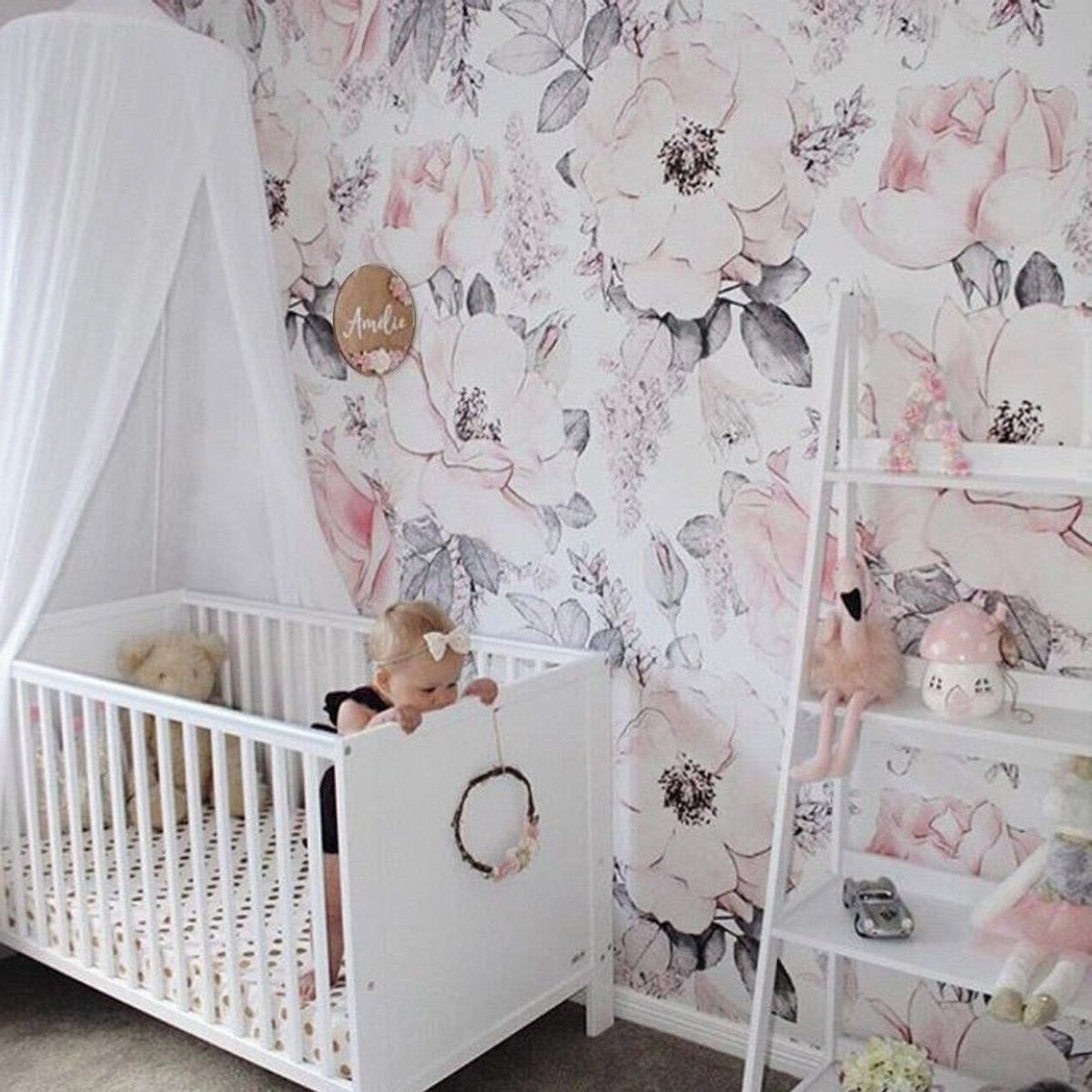 Papel de Parede Floral Aquarela Rosa Pastel ADcorista EFE8F4