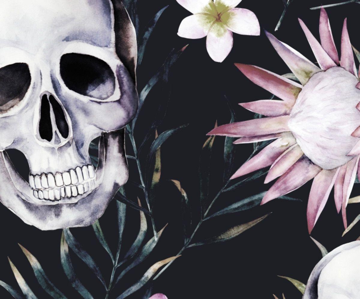 Papel de Parede Flores Floral Caveiras 10533E4