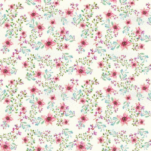 Papel de Parede Florzinhas Aquarela 3CF277