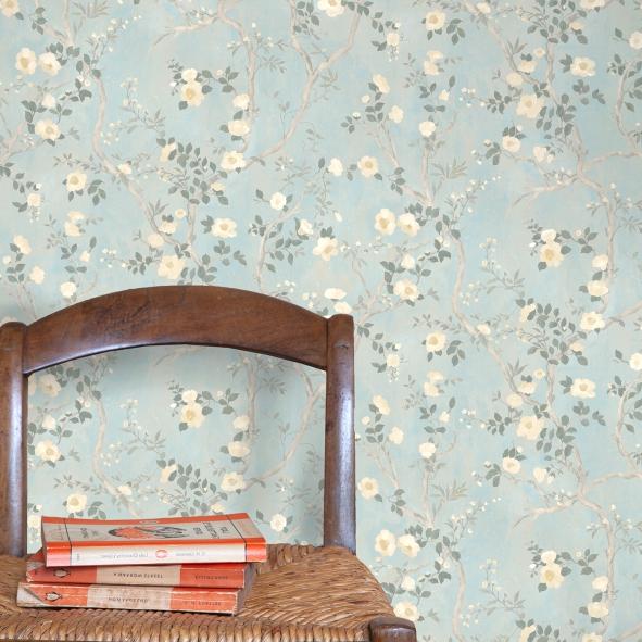 Papel de Parede Galhos da Árvore Flores Floral Camélia Retrô 1570CCA