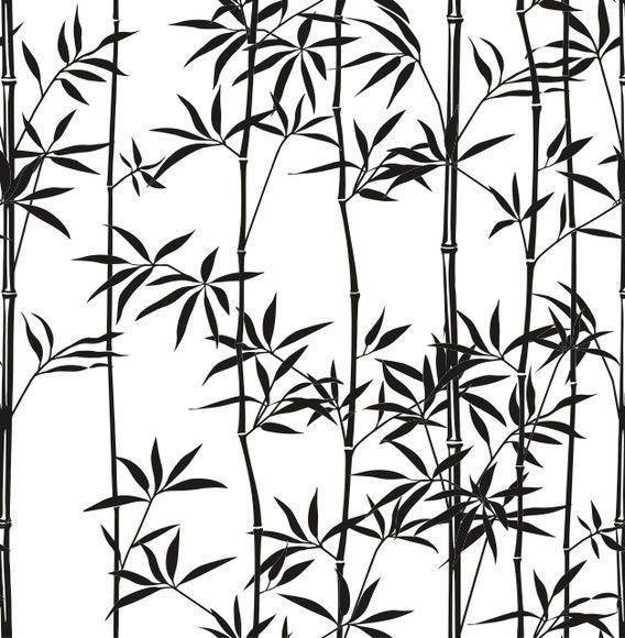Papel de Parede Galhos e Folhas Bambus Preto e Branco 1075AEB