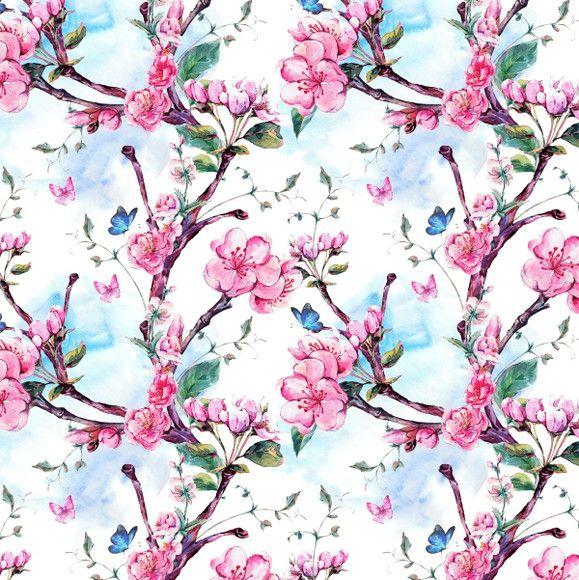 Papel de Parede Galhos Flores de Damasco Aquarela 1051572