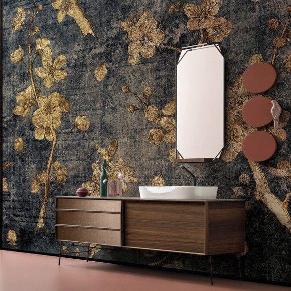 Papel de Parede Floral Grande Luxo Textura Ouro Metalizado 1227520