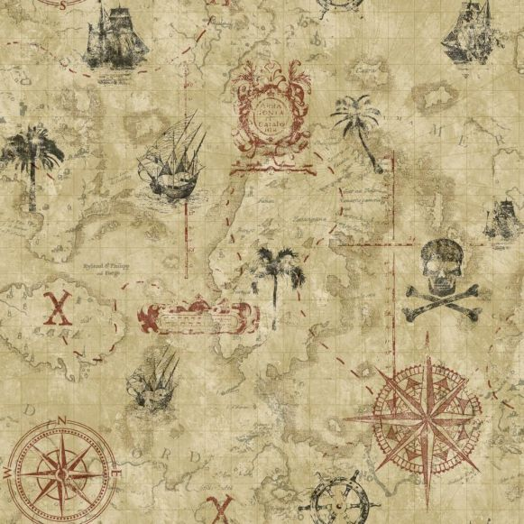 Papel de Parede Mapa Pirata ABE410