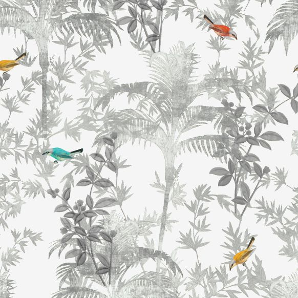 Papel de Parede Natureza Plantas e Pássaros 10DD916