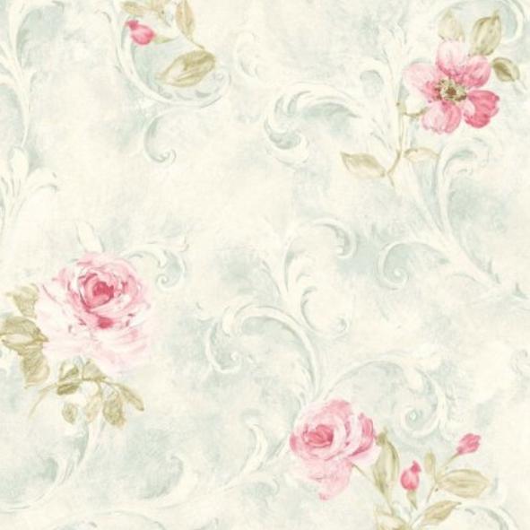 Papel de Parede Ornamento Floral com Rosas 12BBDE7