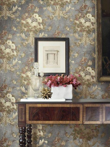 Papel de Parede Ornamento Floral Damasco Vintage 10934A0