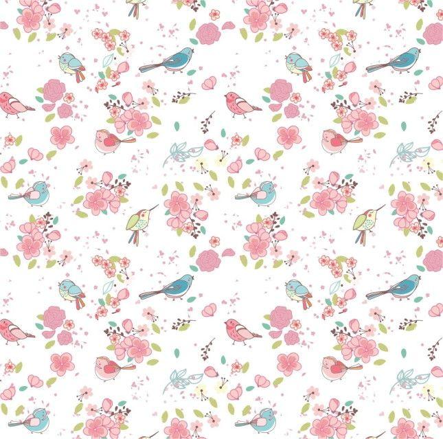 Papel de Parede Pássaros e Flores 3FE7D4