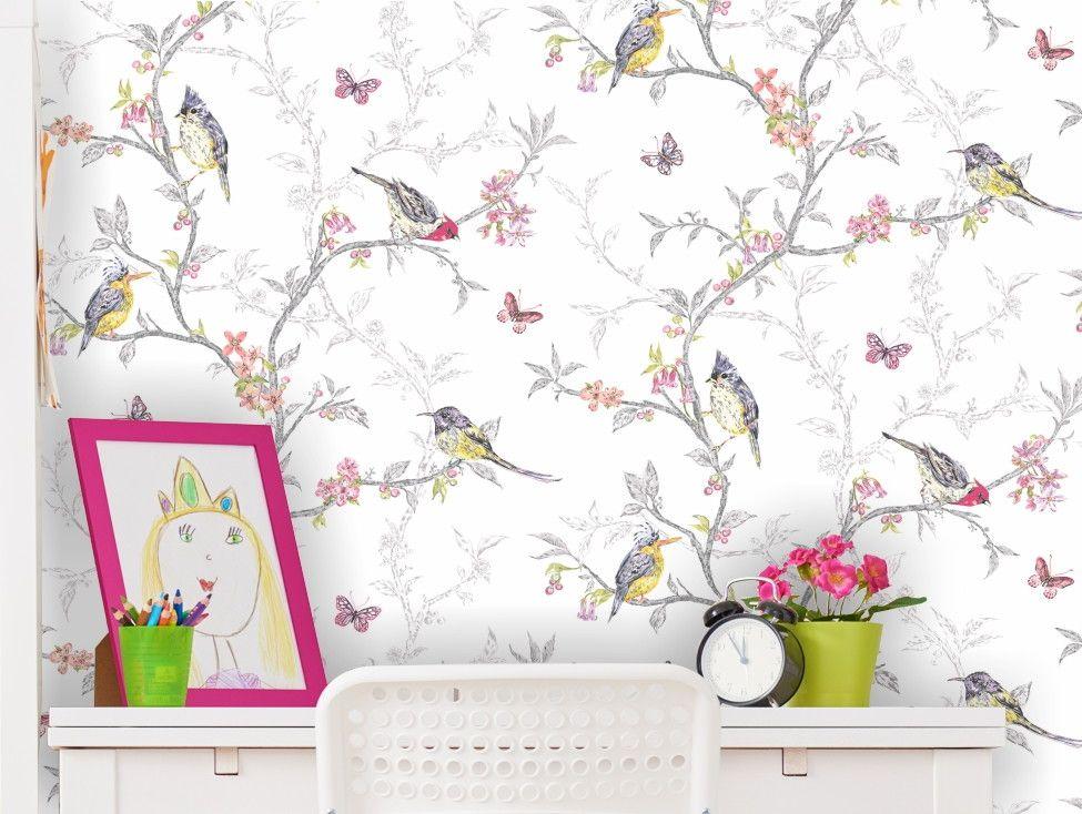 Papel de Parede Floral Pássaros AAF236
