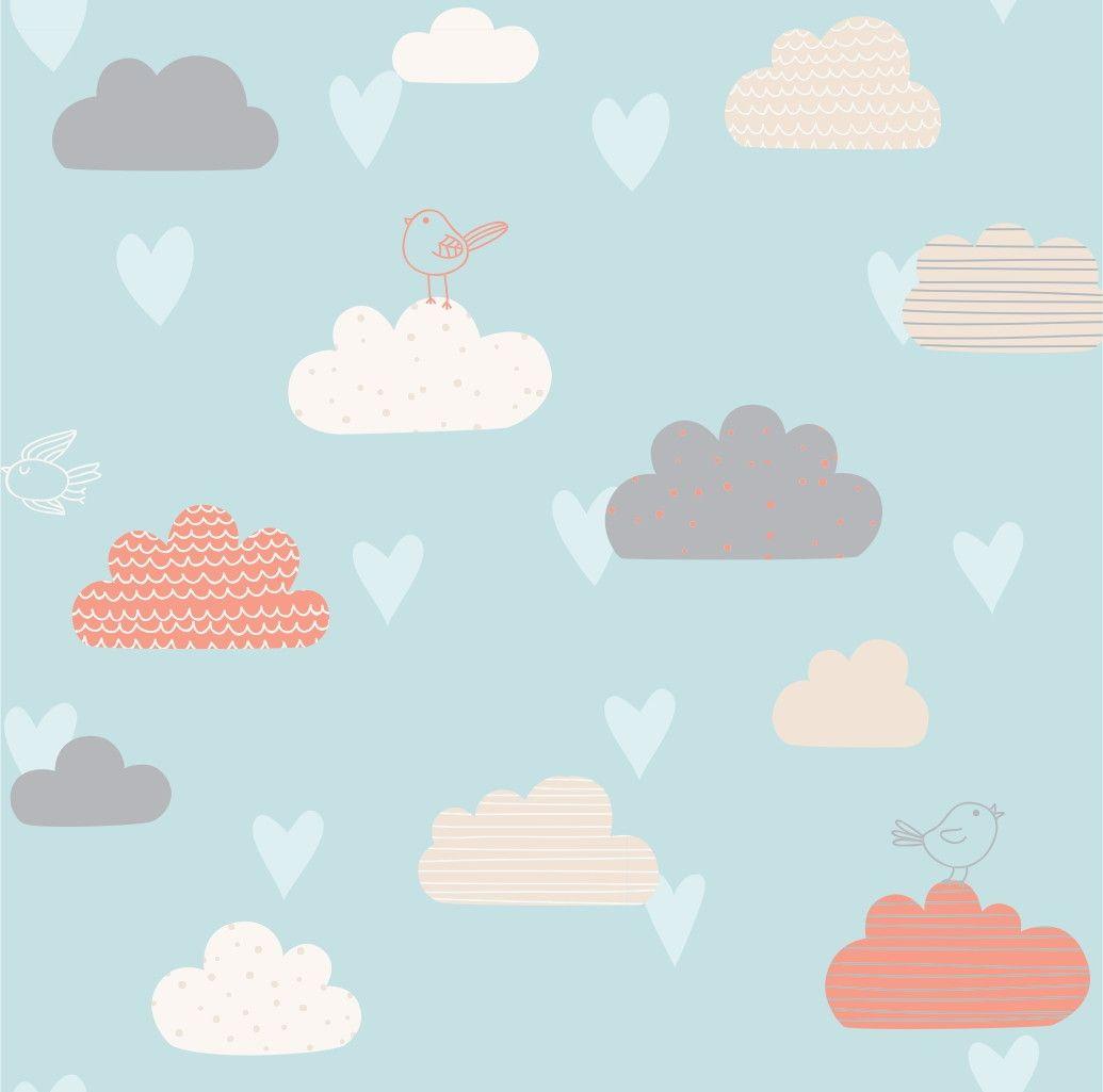 Papel de Parede Nuvens e Pássaros 3FE7D9