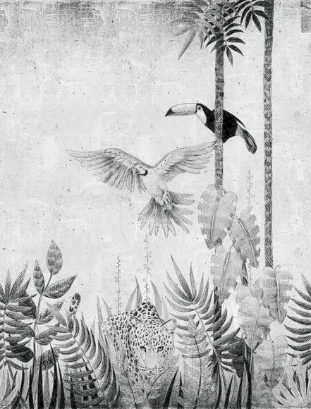 Papel de Parede Preto e Branco Selva Animais 134963B