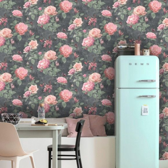 Papel de Parede Retrô Floral Rosas 117051A