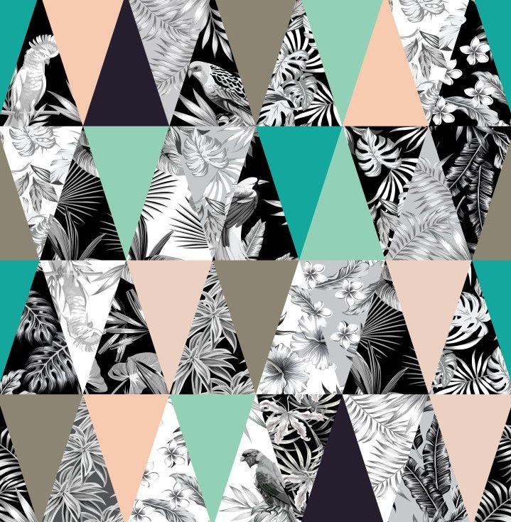 Papel de Parede Geométrico Triângulos Retrô Floral Tropical 6919FD