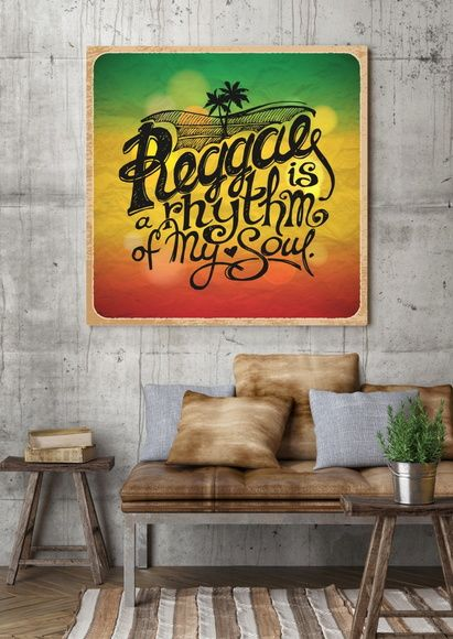 Quadro Reggae is a Rhythm of My Soul no fundo das cores Rasta 6ADEAB
