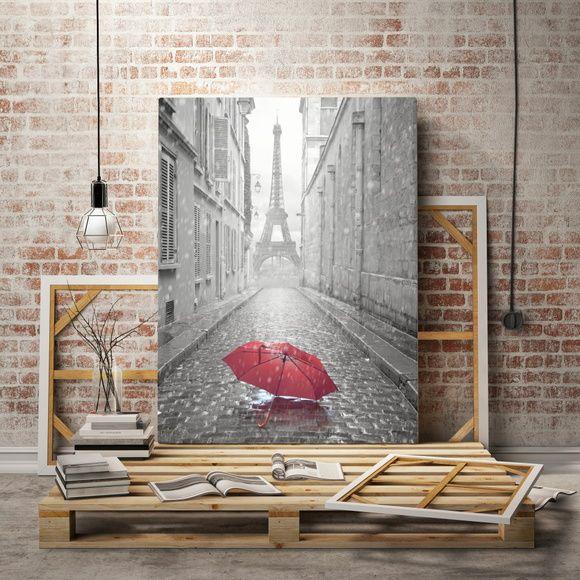 Quadro Preto e Branco com elemento Vermelho Paris Torre Eiffel 4E3FA3