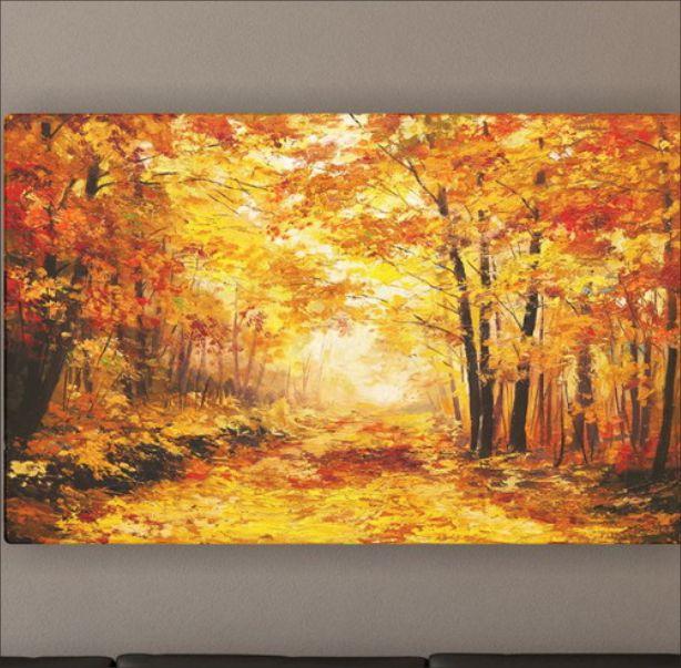 Quadro Paisagem Reprodução de Pintura à Óleo - Floresta de Outono Colorida 5028AF