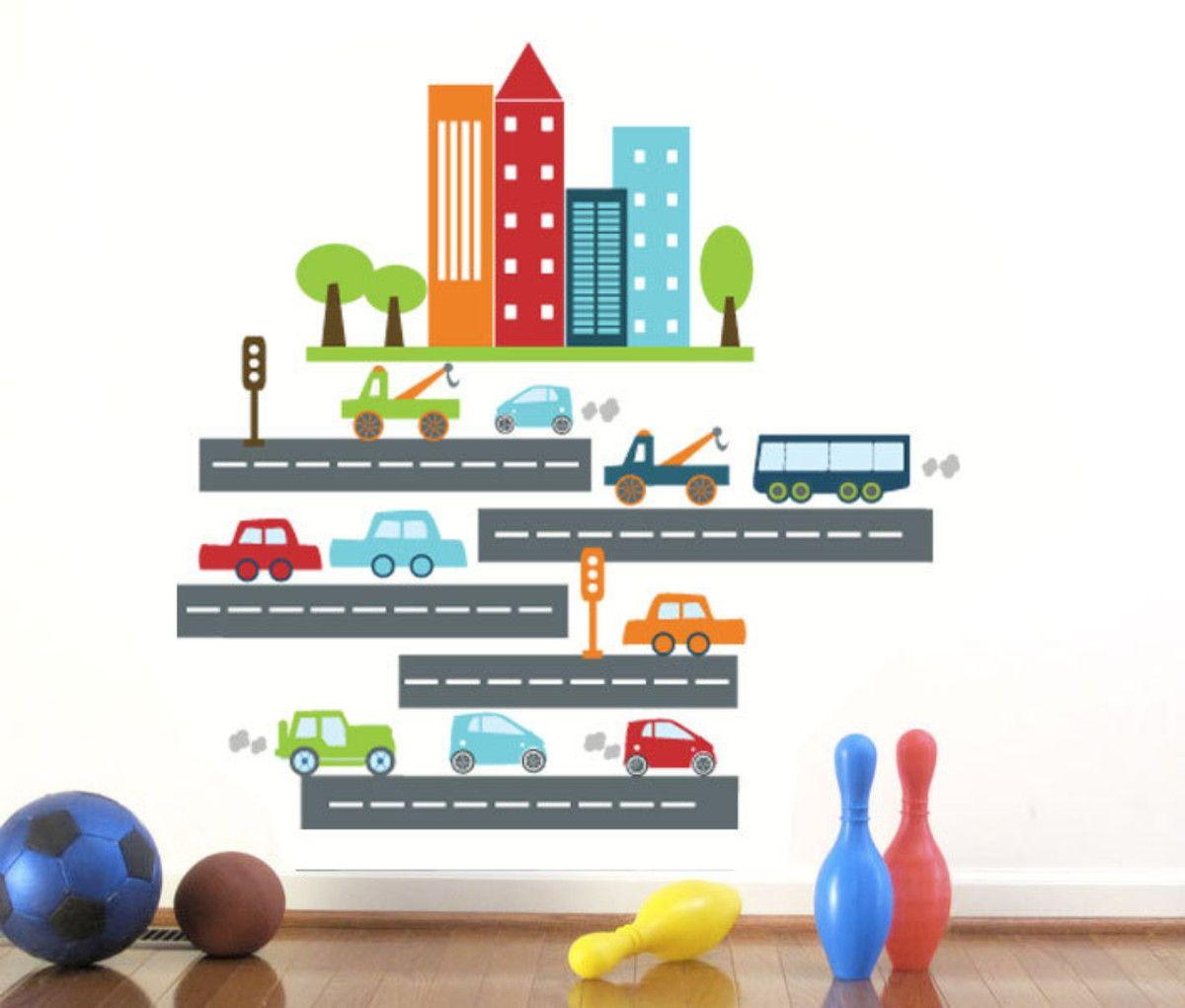 Adesivo de Parede Veículos Trânsito Automóveis Carrinhos 373271