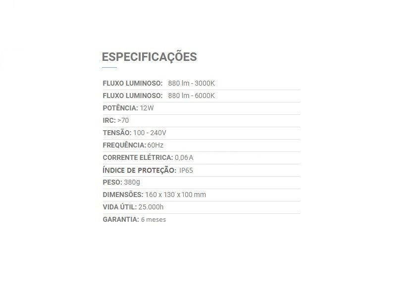 ARANDELA LED EXTERNA QUADRADA 12W BRANCO FRIO