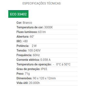 BALIZADOR PAREDE LED 4X2 BCO 2W BQ 33402