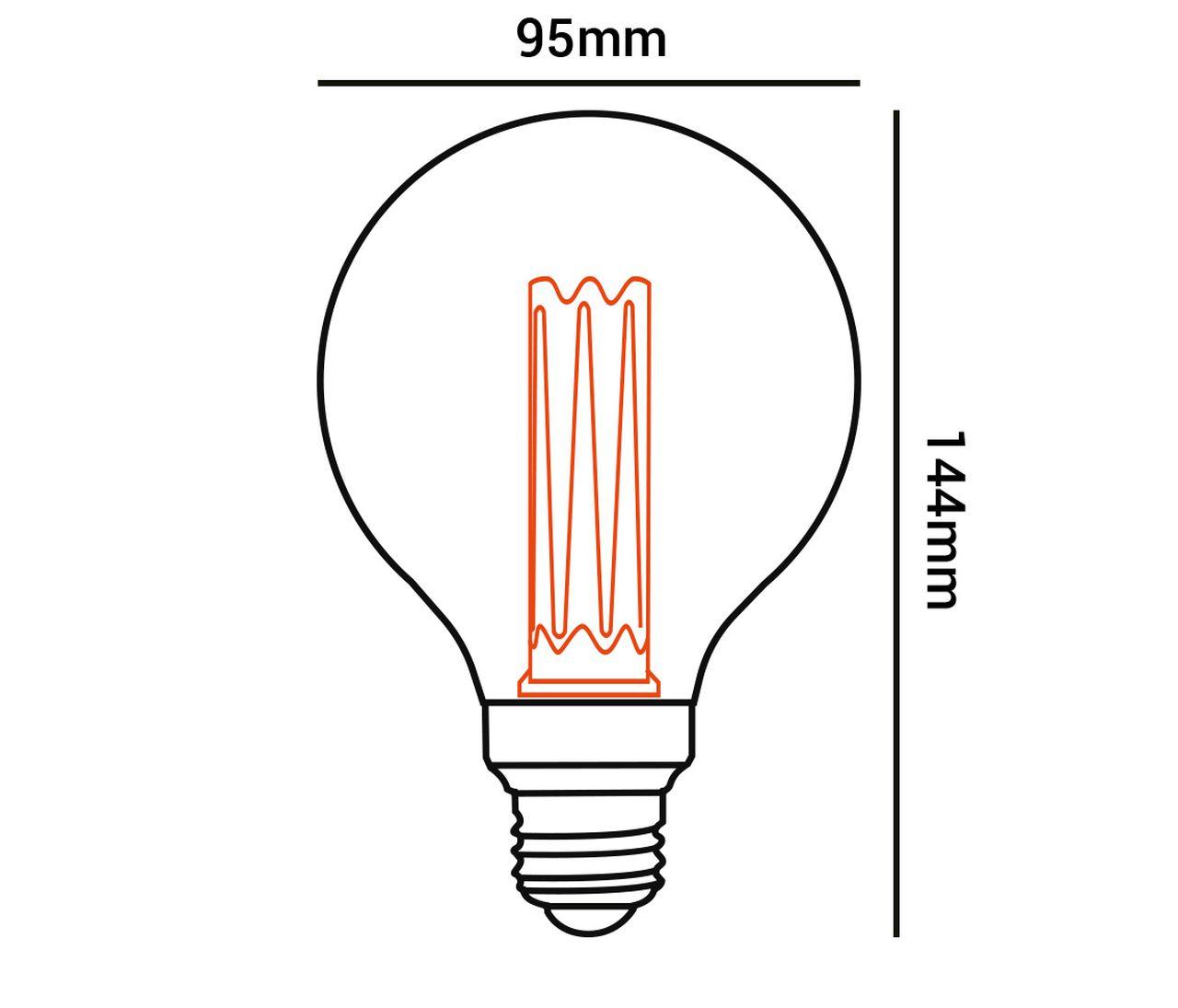 Lâmpada Decorativa Led G95 2.5 W Branco Quente Bivolt