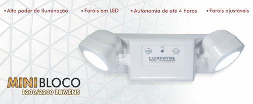 LUMINÁRIA DE EMERGÊNCIA LED MINI BLOCO 2200 LÚMENS BIVOLT