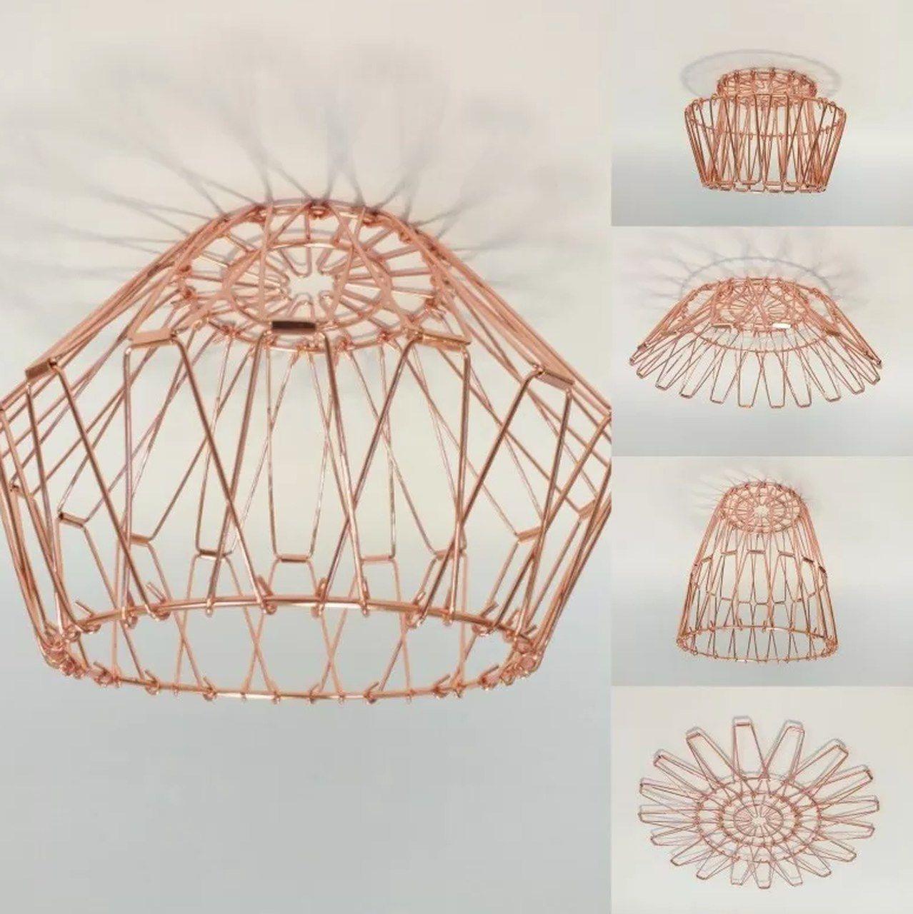 Luminária para Pendente Aramada Articulada Cobre - 30 cm