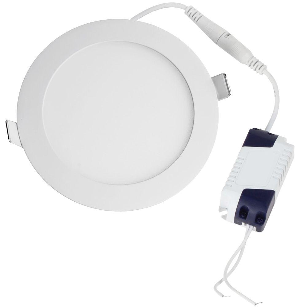 Plafon de embutir LED 18W redondo branco frio