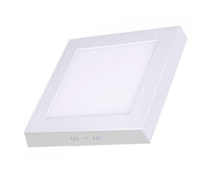 Plafon de sobrepor LED 18 W quadrado branco quente