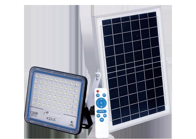 REFLETOR SUPER LED SOLAR  120 W BRANCO FRIO COM CONTROLE REMOTO E PLACA SOLAR
