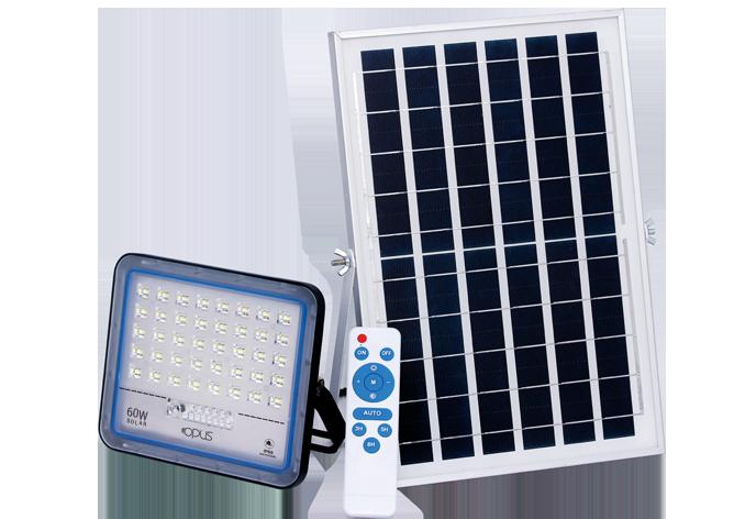 REFLETOR SUPER LED SOLAR  60 W BRANCO FRIO COM CONTROLE REMOTO E PLACA SOLAR