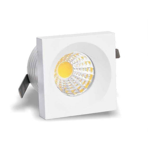 Spot de embutir LED 3W Mini quadrado branco quente bivolt