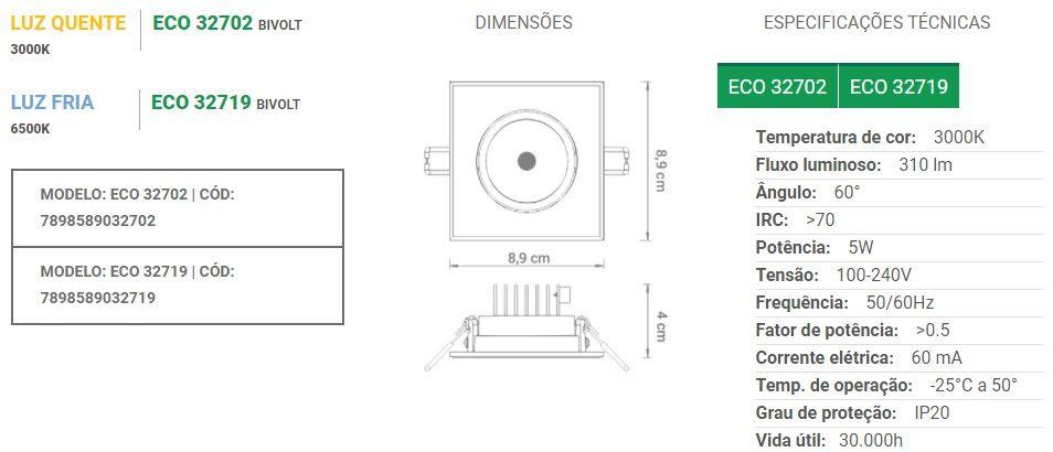 Spot de embutir LED 5W quadrado branco frio bivolt