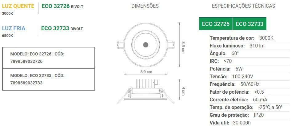 Spot de embutir LED 5W Redondo Bivolt