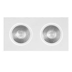 Spot duplo de embutir LED 10W quadrado branco frio bivolt
