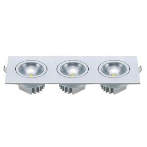 Spot triplo de embutir LED 15W quadrado branco frio bivolt