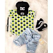 3aaccac312 Conjunto Nervuras Verde - Bermuda e camisa