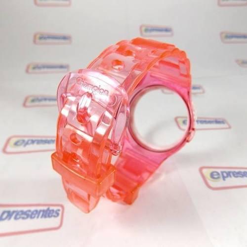 Pulseira Champion Rosa Claro Transparente - 100% Original  - E-Presentes