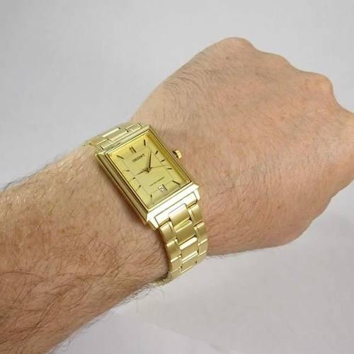 Relógio Orient Dourado Fundo Amarelo FUNAX001G0  - E-Presentes