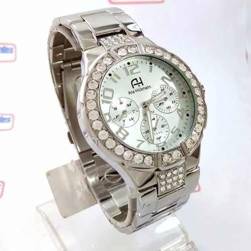 8c3046404 Relógio Feminino Ana Hickmann Prateado Swarovski AH30193Q - E-Presentes