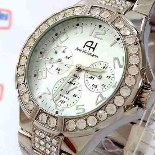 Relógio Feminino Ana Hickmann Prateado Swarovski AH30193Q  - E-Presentes