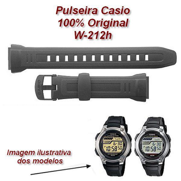 10300101- Pulseira Casio W-212h  Resina Preta (23 / 18mm) - 100% Original  - Alexandre Venturini