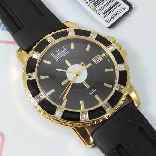 Relógio Dumont Feminino Dourado E Preto Cristais SV48031S  - E-Presentes