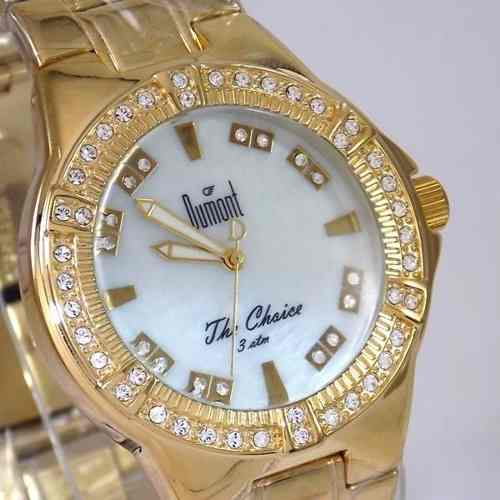 Relógio Feminino Dourado Madrepérola Cristais Dumont SW85017  - E-Presentes
