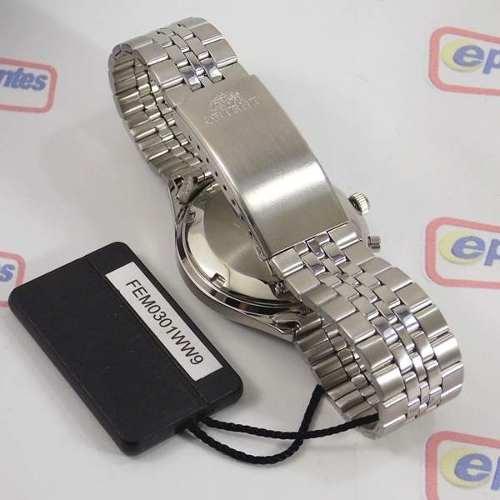 Relógio Orient Automático Pulseira Aço Mostrador Fundo Prata FEM0301WW9  - E-Presentes